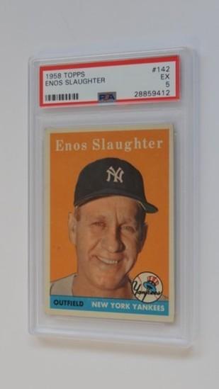 BASEBALL CARD - 1958 TOPPS #142 - ENOS SLAUGHTER - PSA GRADE 5