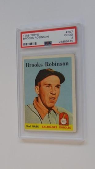 BASEBALL CARD - 1958 TOPPS #307 - BROOKS ROBINSON - PSA GRADE 2