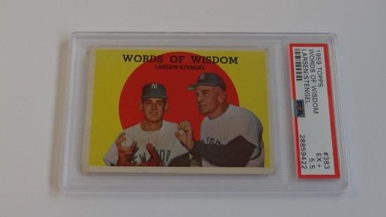 BASEBALL CARD - 1959 TOPPS #383 - WORDS OF WISDOM LARSEN / STENGEL - PSA GRADE 5.5