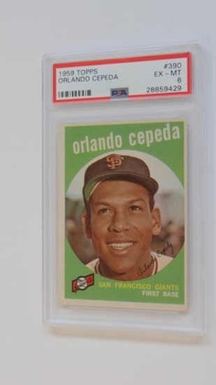 BASEBALL CARD - 1959 TOPPS #390 - ORLANDO CEPEDA - PSA GRADE 6