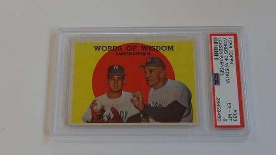BASEBALL CARD - 1959 TOPPS #383 - WORDS OF WISDOM LARSEN / STENGEL - PSA GRADE 6