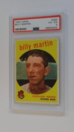 BASEBALL CARD - 1959 TOPPS #295 - BILLY MARTIN - PSA GRADE 4