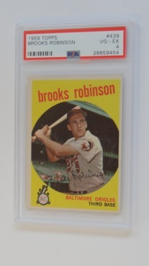 BASEBALL CARD - 1959 TOPPS #439 - BROOKS ROBINSON - PSA GRADE 4