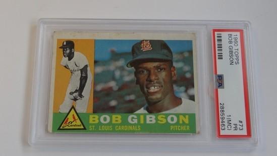 BASEBALL CARD - 1960 TOPPS #73 - BOB GIBSON - PSA GRADE 1