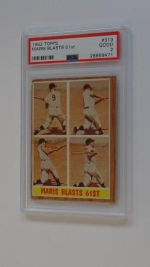 BASEBALL CARD - 1962 TOPPS #313 - MARIS BLASTS 61st - PSA GRADE 2