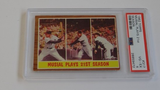BASEBALL CARD - 1962 TOPPS #317 - MUSIAL PLAYS 21st SEASON - PSA GRADE 4