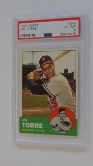 BASEBALL CARD - 1963 TOPPS #347 - JOE TORRE - PSA GRADE 6