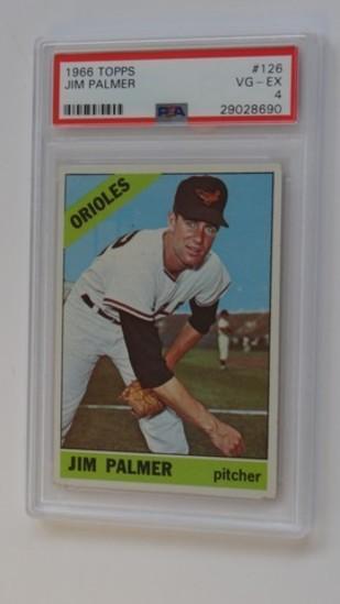 BASEBALL CARD - 1966 TOPPS #126 - JIM PALMER - PSA GRADE 4