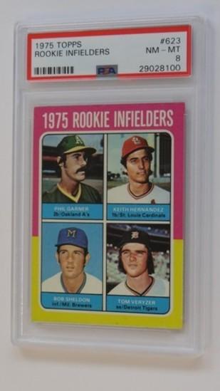 BASEBALL CARD - 1975 TOPPS #623 - ROOKIE INFIELDERS / KEITH FERNANDEZ - PSA GRADE 8 NM-MT