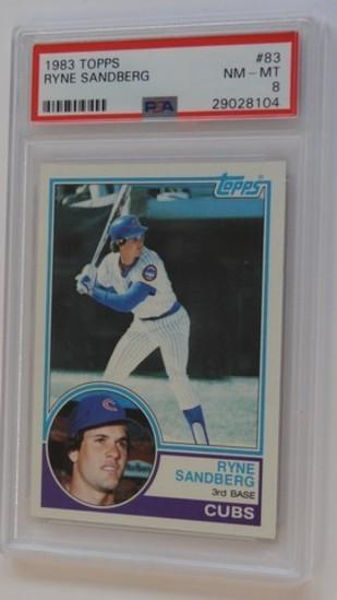BASEBALL CARD - 1983 TOPPS #83 - RYNE SANDBERG - PSA GRADE 8 NM-MT