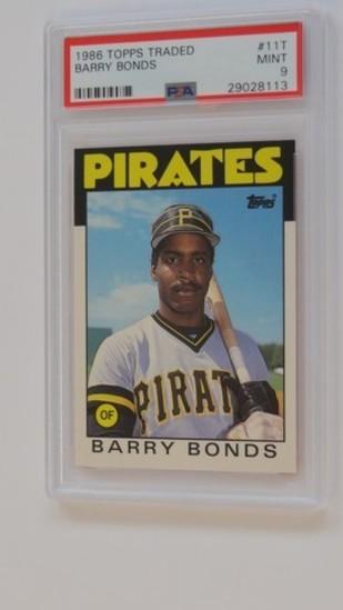 BASEBALL CARD - 1986 TOPPS TRADED #11T - BARRY BONDS - PSA GRADE 9 MINT