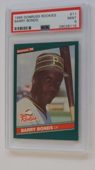 BASEBALL CARD - 1986 DONRUSS ROOKIES #11 - BARRY BONDS - PSA GRADE 9 MINT