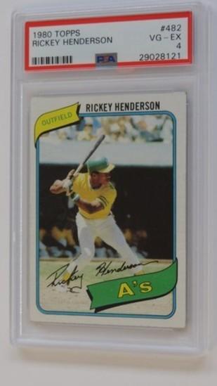 BASEBALL CARD - 1980 TOPPS #482 - RICKEY HENDERSON - PSA GRADE 4