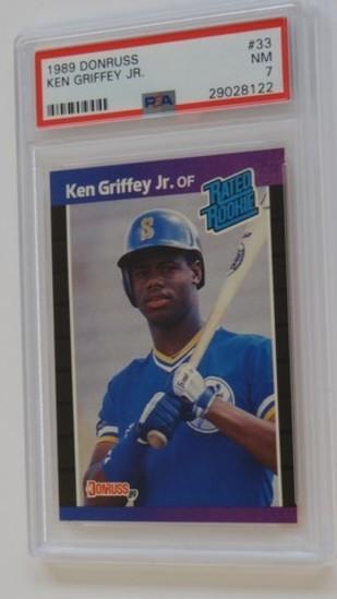 BASEBALL CARD - 1989 DONRUSS #33 - KEN GRIFFEY JR - PSA GRADE 7 NM