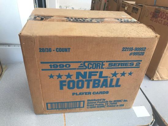 1990 SCORE NFL WAX CASE - 20 BOXES (36 CT / BOX) - SEALED