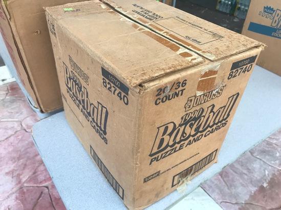 1990 DONRUSS BASEBALL WAX CASE - 20 BOXES (36 CT / BOX) - OPEN CASE / PLASTIC WRAPPED INDIVIDUAL BOX