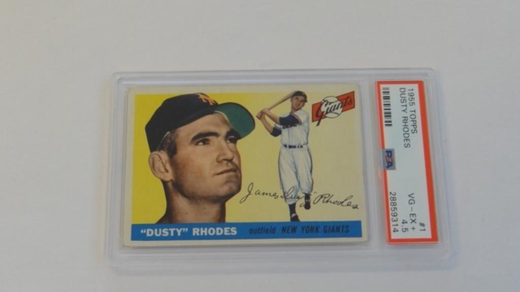 BASEBALL CARD - 1955 TOPPS #1 - DUSTY RHODES - PSA GRADE 4.5