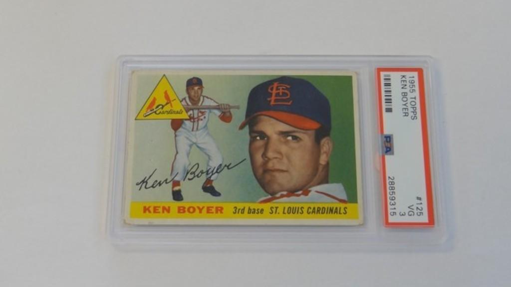 BASEBALL CARD - 1955 TOPPS #125 - KEN BOYER - PSA GRADE 3