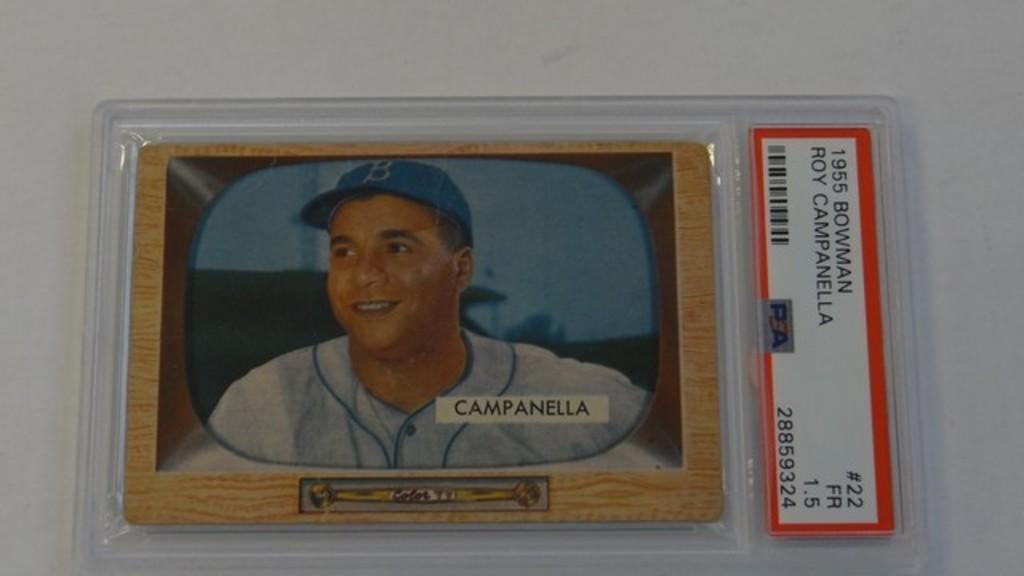 BASEBALL CARD - 1955 BOWMAN #22 - ROY CAMPANELLA - PSA GRADE 1.5