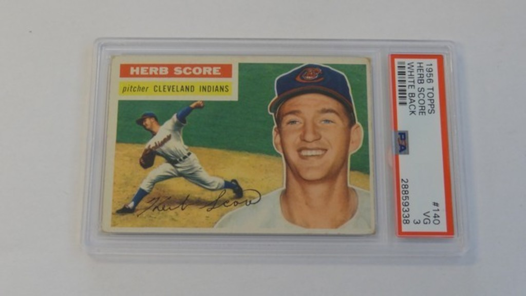 BASEBALL CARD - 1956 TOPPS #140 - HERB SCORE - WHITE BACK - PSA GRADE 3