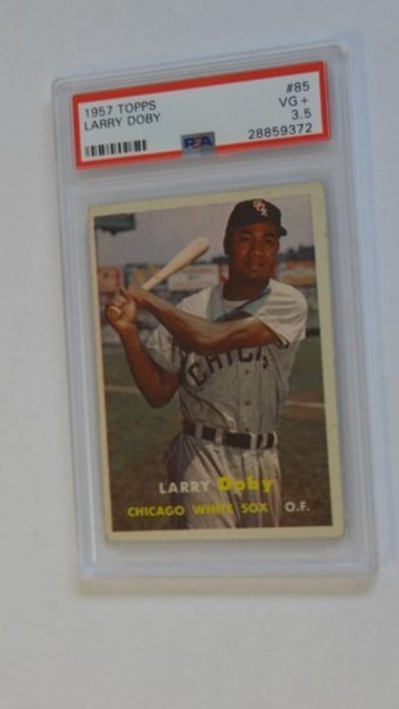 BASEBALL CARD - 1957 TOPPS #85 - LARRY DOBY - PSA GRADE 3.5