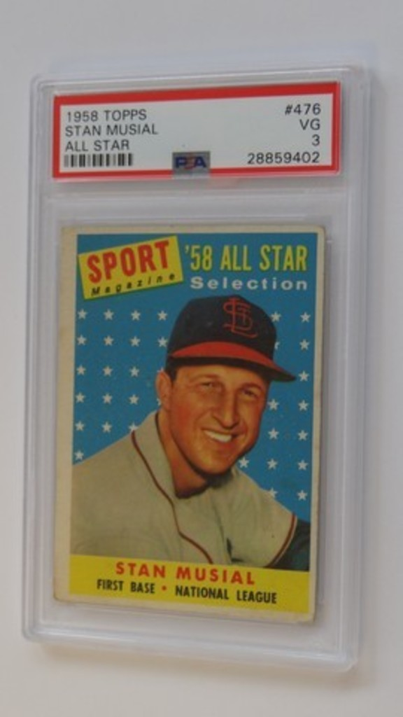 BASEBALL CARD - 1958 TOPPS #476 - STAN MUSIAL ALL STAR - PSA GRADE 3