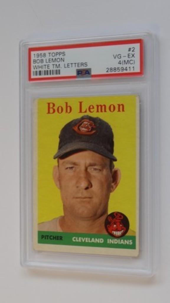 BASEBALL CARD - 1958 TOPPS #2 - BOB LEMON - WHITE TM LETTERS - PSA GRADE 4