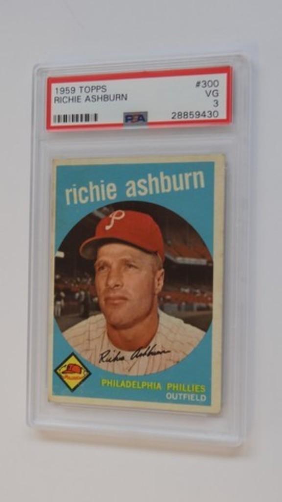 BASEBALL CARD - 1959 TOPPS #300 - RICHIE ASHBURN - PSA GRADE 3