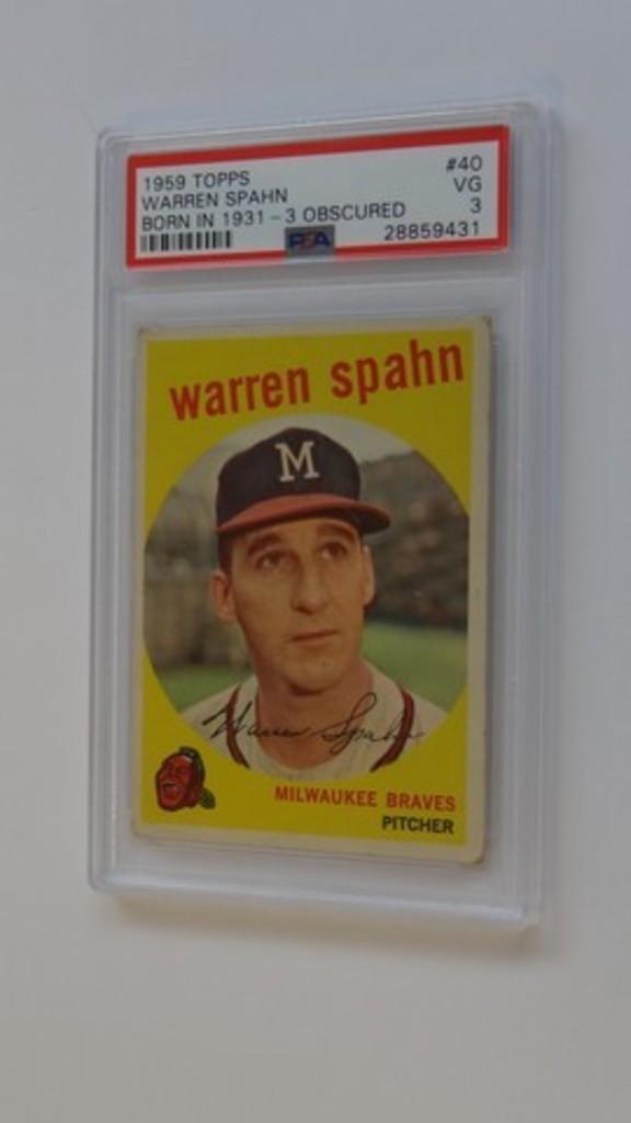 BASEBALL CARD - 1959 TOPPS #40 - WARREN SPAHN BORN IN 1931 - PSA GRADE 3