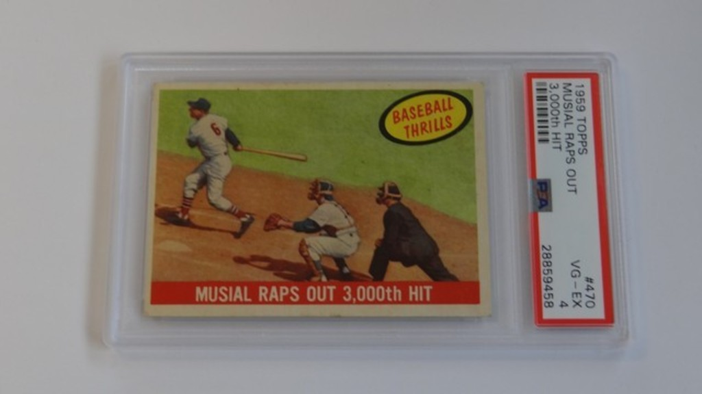 BASEBALL CARD - 1959 TOPPS #470 - MUSIAL RAPS OUT 3,000th HIT - PSA GRADE 4