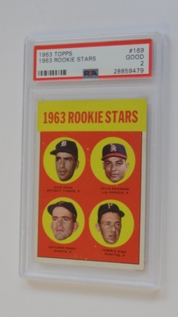 BASEBALL CARD - 1963 TOPPS #169 - 1963 ROOKIE STARS / GAYLORD PERRY - PSA GRADE 2