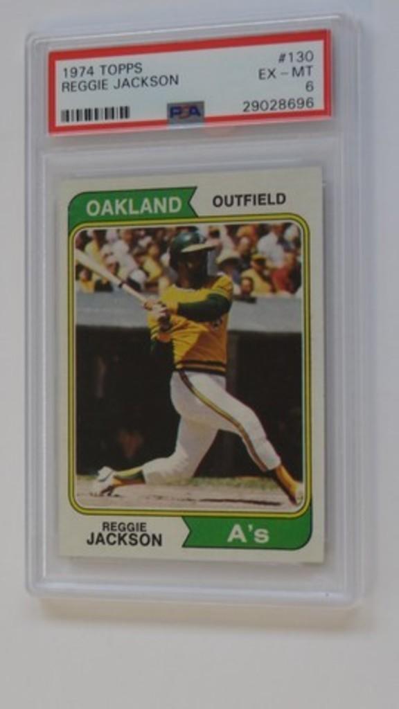 BASEBALL CARD - 1974 TOPPS #130 - REGGIE JACKSON - PSA GRADE 6