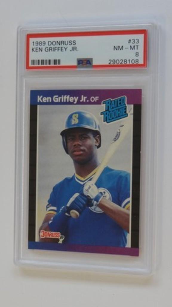 BASEBALL CARD - 1989 DONRUSS #33 - KEN GRIFFEY JR - PSA GRADE 8 NM-MT
