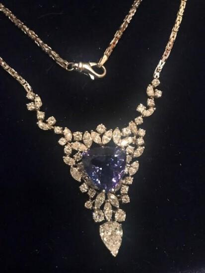 DESIGNER NECKLACE - WHITE GOLD SETTING (15.9 DWT) - 54 DIAMONDS (11.75 CT TW) - TANZANITE GEM (9 CT)