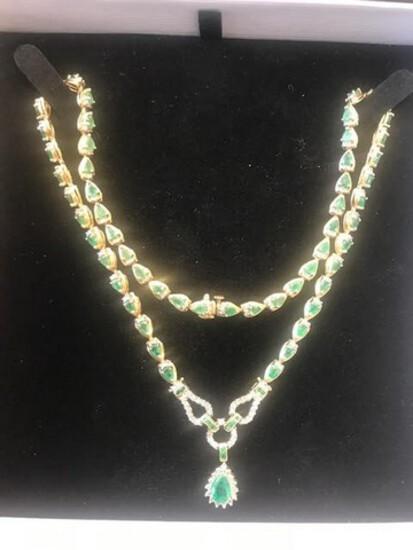 EMERALD / DIAMOND NECKLACE - 14K GOLD SETTING (16.9 DWT) - DIAMONDS (1.5 CTS) - EMERALDS (12 CTS)