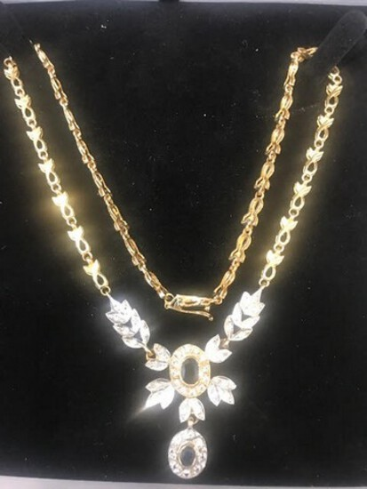 SAPPHIRE / DIAMOND NECKLACE - 14K YELLOW GOLD SETTING (14.7 DWT) - DIAMONDS (.5 CTS) - SAPPHIRES (1.
