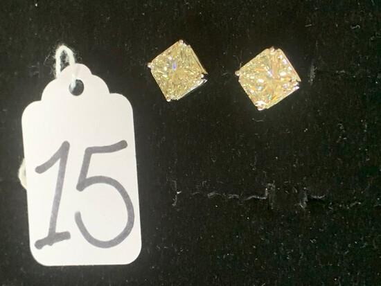 PAIR 4-PRONG DIAMOND STUD EARRINGS - 14K WHITE GOLD SETTING - SCREW STEMS (NO SCREW BACKS) - HIGH PO