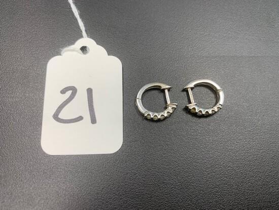 PAIR DIAMOND EARRINGS - 14K WHITE GOLD SETTINGS - 10 STONES (.50+/- CT TW)