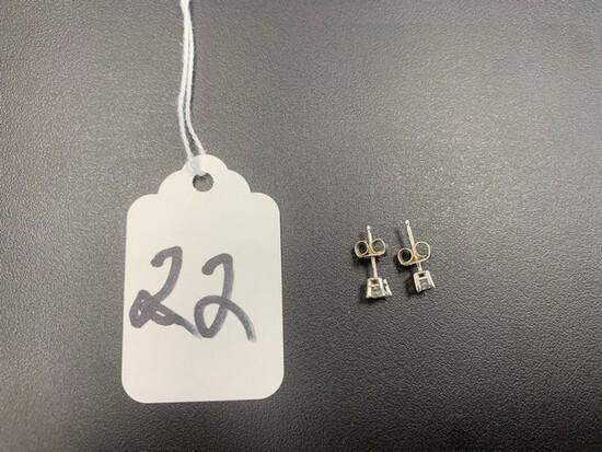 PAIR DIAMOND STUD EARRINGS - 14K WHITE GOLD SETTING - RADIANT CUT (.40+/- CT TW)