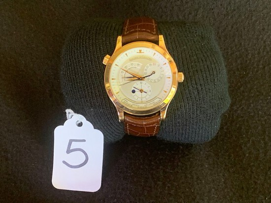 MEN'S JAEGER LECOULTRE MASTER CONTROL 142.2.92 WATCH - 18K GOLD FACE / 18K ROSE GOLD MOVEMENT / BROW