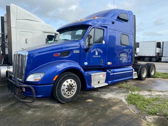 2012 PETERBILT 587 TRACTOR - VIN 1XP4DP9XXFD248383 - BLUE - SLEEPER CAB - MILES UNKNOWN (NO KEYS) (L