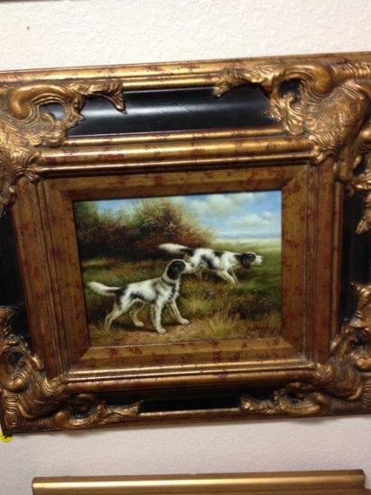 ART - 2 HUNTING DOGS IN FIELD - OIL ON BOARD / GRAND