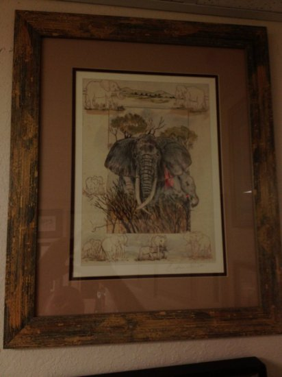 ART - ELEPHANTS - WATERCOLOR - SIGNED (LOWER RIGHT -