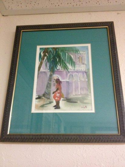 ART - CARIBBEAN WOMAN ON STREET - WATERCOLOR - SIGNED