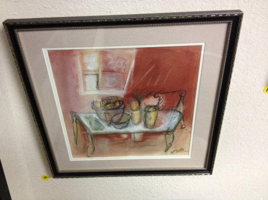ART - BENCH WITH FRUIT IN FRONT OF WINDOW - WATERCOLOR