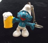 Vintage Beer Drinking Smurf PVC Figural Keychain