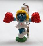 Vintage Cheerleader Smurfette PVC Figural Keychain