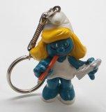 Vintage Secretary Smurfette PVC Figural Keychain