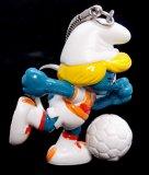 Vintage Soccer Smurfette PVC Figural Keychain
