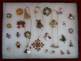 Christmas Themed Necklace,Earring, & Brooch Lot